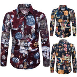 $enCountryForm.capitalKeyWord Australia - New men's casual shirt, long-sleeved shirt, square collar casual shirt, geometric floral pattern, slim design, beach casual, bottoming shirt