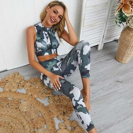 sports prints Australia - Women Camouflage Printed Yoga Sets Sweatsuit Women's Tracksuit Cropped 2020 Yoga Clothes Ladies Sports Clothing Set Two Pieces