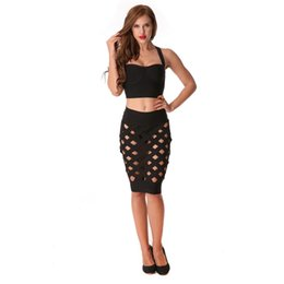$enCountryForm.capitalKeyWord UK - Three Pieces Solid Crop Top Skirt Clothing New Women Set Summer Hollow Out Sexy Celebrity Evening Party Q190530
