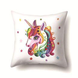$enCountryForm.capitalKeyWord Australia - Dream Star Horse Print Pillowcase Cartoon Design 45*45cm Square Pillowcase Casual Home And Hotel Decorative Pillowcase
