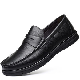 Old Man Dress Australia - Slip on Genuine leather father shoes cow leather old men shoes Massage man loafer male business flats father casual shoe JI27