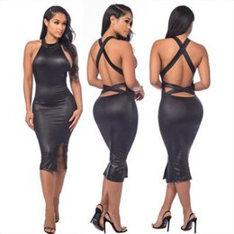1eb05fa4b4 Womens Sexy Dresses 2019 Summer New Dress Hot Round Neck Leather Skirt  Tight Halter Mini Skirt Nightclub Style Cross Strapless Open Back