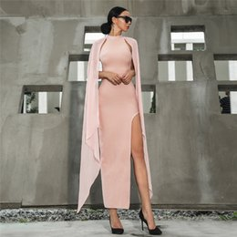 $enCountryForm.capitalKeyWord NZ - 2019 Modern Pink Chiffon Sheath Prom Dresses Ankle Length Side Split Party Gowns Lace Up Evening Dress Custom Long Sleeves Prom Gowns