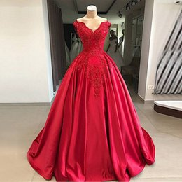 $enCountryForm.capitalKeyWord Australia - V-Neck Cap Sleeve Satin and Lace Ball Gown Prom Dresses Red Party Dresses for Juniors Sweep Train Formal Beading Dresses Cheap