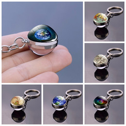 earth balls 2020 - Unique Keychain Glass Ball Pendant Earth Key Rings Jewelry Birthday Gift globe Keyrings Key chain Trinket cheap earth ba