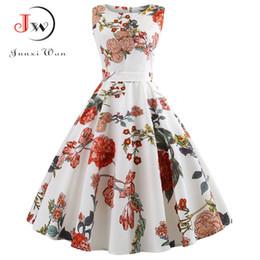 cbbb82f9fd45 Summer Women Dress Plus Size Casual Midi Work Office Party Sundres  Sleeveless Floral Print Elegant Vintage Pin up Dresses jurken