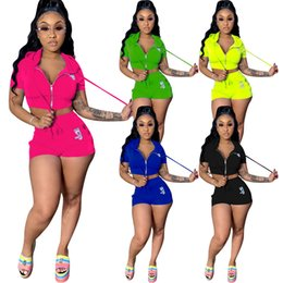 biker hoodie NZ - Women's Suits set 2020 New Casual Two-Piece Hoodie Crop Top with Biker Shorts Set Short Sleeve Drawstring Tracksuits Outfits Y200701