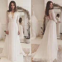 MusliM dresses weddings online shopping - 2019 Backless Bohemian Beach Country A Line Wedding Dresses Cheap Deep V Neck Chiffon Long Sleeves Boho Bridal Gowns Cheap custom made