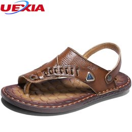 Quality Beach Wraps Australia - UEXIA 2018 Men Sandals Beach Casual Shoes Split Leather Sneakers Top Quality Soft Bot Summer High Quality Leather Fashion Men's