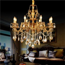 bedroom chandeliers candles UK - European gold crystal chandelier E14 E12 candle lights contemporary ceiling lighting modern candle hanging lights Bedroom living room lam