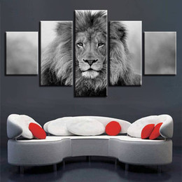 Black White Oil Art Australia - Canvas Pictures Modular Wall Art 5 Pieces Animal Lion Painting Living Room HD Prints Black And White Poster Home Decor(No Frame)