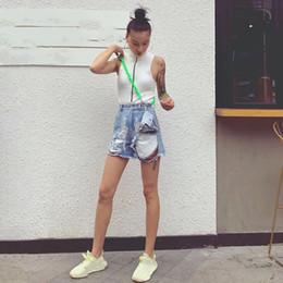 $enCountryForm.capitalKeyWord NZ - 2019 Women Ripped Hole Denim Short Pants High Waist With Sashes Shorts Summer Fashion Korean Jeans