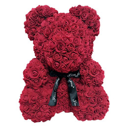 artificial valentines gifts Canada - 24pcs 40cm Bear of Roses Artificial Flowers Home Wedding Festival DIY Cheap Wedding Decoration Best Gift for Christmas Valentine amazzz