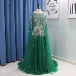 Emerald Prom Dress Straps Australia - Emerald Green Evening Dresses with Cape Sleeves Beaded Crystal Blush Pink Champagne Tulle Long Dubai Formal Prom Dresses party dresses