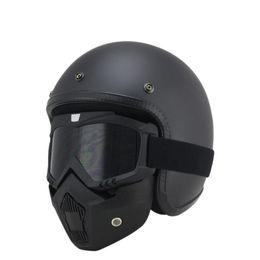 9f97f3f63 Scooter de moto MTB ATV Dirt bike 3/4 Cascos Con Skull Cool Goggles Vintage  personalizado para motocicleta Harley Casco