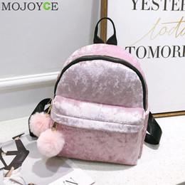 Discount korean style female backpack - MOJOYCE Mini Velvet Backpack Bag Female Cute Backpacks High Quality Back Pack For Girls Gift Women's Small Backpack