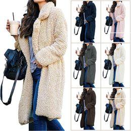 $enCountryForm.capitalKeyWord UK - Women's Warm Coat Fashion Outwear streetwear 2019 Autumn and Winter Lapel Fur Cardigan Women's Long Sweater Size S-3XL