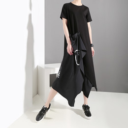 $enCountryForm.capitalKeyWord Australia - New 2019 Korean Style Women Summer Black T-shirt Dress Short Sleeve Extra Layer Stitched Girls Unique Casual Dresses Style F218