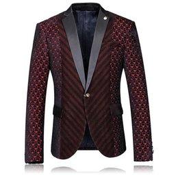 Toptan Satış - Toptan-Güzel Yüksek Kalite Tasarımcısı Erkekler Blazer Kalp Şarap Kırmızı Tek Düğme Düğün Blazer Moda Slim Fit Erkek Bordo Blazer indirimde