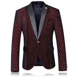 Venta al por mayor- Niza Diseñador de alta calidad Hombres Blazer Corazón Vino rojo Botas de boda de un solo botón Moda Slim Fit Mens Burgundy Blazer en venta