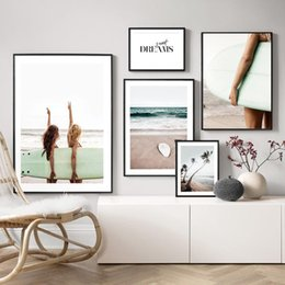painting girls rooms NZ - Surfboard Girls Wall Art Canvas Painting Palm Tree Posters And Prints Seascape Wall Positive Letter Pictures For Living Room