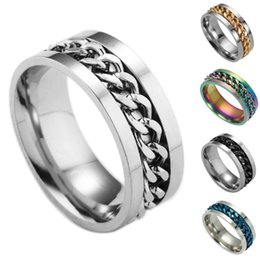 roman numerals ring wholesale Australia - Fashion Vintage Roman Numeral Rings High Quality Mens Titanium Steel Chain Rotating Rings Jewelry Gifts 3-Gj570 #213