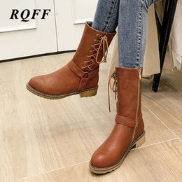 shoes for plus sized women Australia - 2019-2020 Winter Ankle Boots for Women Plus Size 42 43 Fashion Med Heel Shoes Woman Zipper Round Toe Cross-tied Handmade