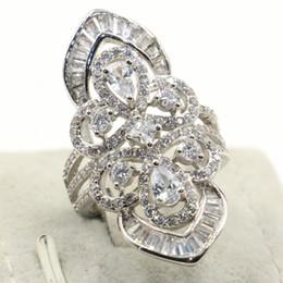 $enCountryForm.capitalKeyWord Australia - Hip Hop Exaggeration Luxury Jewelry 925 Sterling Silver Flower Rings Drop Water White Topaz CZ Diamond Party Eternity Women Wedding Rings