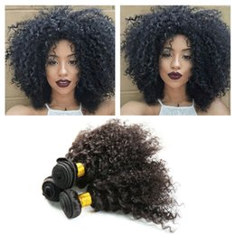 Wholesale Afro Kinky Curly Weave Human Hair Bundles Remy Brazilian Hair Weaving Extension Natural Black Color Inch