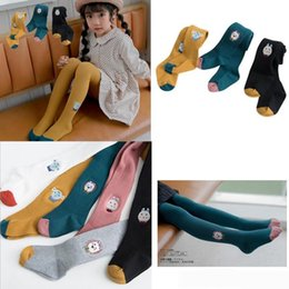 Lolita Leggings Australia - INS Spring girl clothing pants Candy color Animals Embroidry leggings pants 100% Cotton Knitted Bottomed pantyhose girl clothing leggings