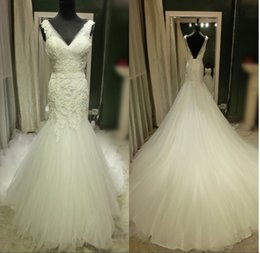 $enCountryForm.capitalKeyWord NZ - Real Photo V neck Trumpet Wedding Dresses Open Back Pleated Soft Tulle Quality Applique Lace Court Train Wedding Bridal Gowns Plus size