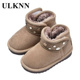 boys shoes Canada - ULKNN Rubber Cotton-Padded Shoes For Kids Winter Fashion Riveting Nail Children Boots Boys Anti-Slip Boots Flat Casual Sneakers