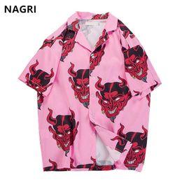 Hip hop streetwear camisas dos homens Diabo Impressão Completa manga curta verão floral rapper harajuku solto havaiano camisas coreano camisa venda por atacado
