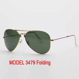 $enCountryForm.capitalKeyWord Australia - Wholesale- model 3479 folding aviation sun glass UV400 lenses for man woman with leather case packages & all accessories, everything!!