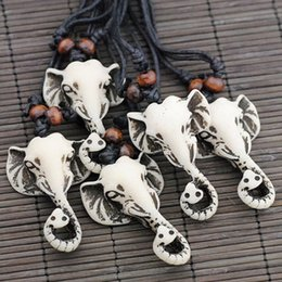 TibeTan sTyle necklace online shopping - Jewelry Imitation YAK BONE Carved Tibetan Style Lucky Elephants Charms Pendants Necklaces gift for men women MN431