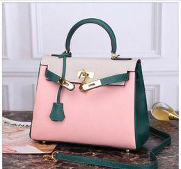 $enCountryForm.capitalKeyWord Australia - 25cm 28cm Brand Totes K Bag Two-tone Many colors Genuine leather Cowhide Shoulder Bags lady Handbag High Quality Free Shipping