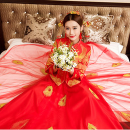 $enCountryForm.capitalKeyWord Australia - Chinese Women Tassel Qipao Bride Wedding Mesh Dress Gown Handmade Embroidery Overseas Phoenix Cheongsam Toast Clothing Suit