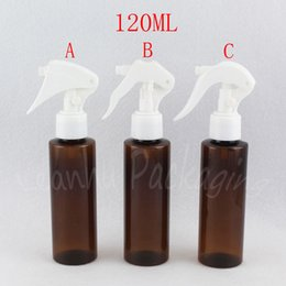 bottles triggers wholesale Australia - 120ML Brown Flat Shoulder Plastic Bottle With Trigger Spray Pump , 120CC Toner, Empty Cosmetic Container