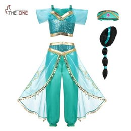 $enCountryForm.capitalKeyWord NZ - Muababy Arabian Fancy Dress Up For Girls Sleeveless Sequined Jasmine Cosplay Princess Costume Kids Halloween 2 Pcs Set Clothes J190705