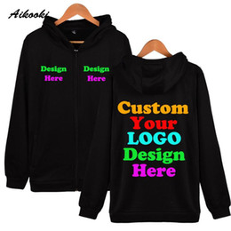 dropship sweatshirt Canada - Custom Zipper Hoodies Text Men Women Personalized Customize Zip Up Hoodie Sweatshirt Polluvers Customization For DropShip