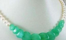 pearl green NZ - necklace Free Shipping >>Jewelry freshwater 7-8mm pearl green jade necklace 17