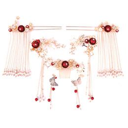 Jade Hair UK - Traditional Chinese Bride Hair Jewelry Headpiece Costume Tassel Hair Pins Phoenix Butterfly Crown Stick Wedding Accessories
