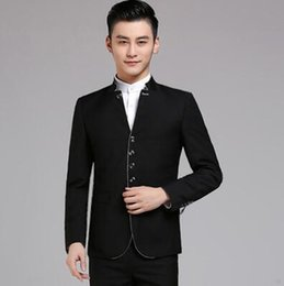 Wholesale chinese tunic wedding for sale - Group buy Chinese tunic suit set with pants mens wedding suits singer stage clothing blazer men formal dress stand collar black grey