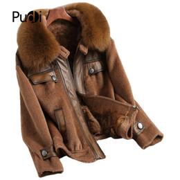 Fur Real Dogs UK - PUDI A68536 Real wool jacket with real fox fur collar overcoat women winter raccoon fur collar warm coat 2018 fall winter long coat