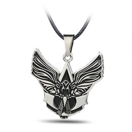 Angels Figures Australia - Punk jewellery Angel Wings Sword Man Humankind Figure Silver necklace Rope Chain Male Female Angel necklace pendant