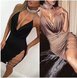 dress sexy dance club NZ - Women Sexy Halter Crystal Sequin Dress Backless Metallic Diamond Bandage Club Bodycon jazz dance Night Club dress Party Christmas Dress