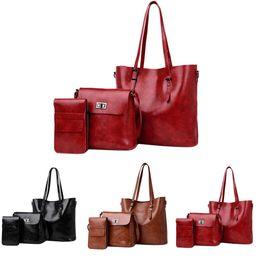 $enCountryForm.capitalKeyWord Australia - Composite Bags For Women Handbags High Quality Oil Wax PU bag Women Crossbody Bags Fashion Solid Tote Three-Piece Dropship Y725