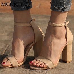 $enCountryForm.capitalKeyWord NZ - 2019 Summer Women Flock Square Heel Sandals High Heels Buckle Strap Female Fashion Dress Woman Sandal Shoes For Girls Plus Size