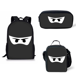 $enCountryForm.capitalKeyWord UK - Customize Schoolbags Black White darkness Ninja Eyes Mask Printing Backpack School Bags for Boy Girl insulated bag bagpack