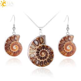 Natural Ammonite Fossil Pendant Australia - CSJA Natural Unique Ammonite Jewelry Set Fossils Necklaces Pendants Conch Shell Snail Spiral Dangle Earrings Pendants Sets E392